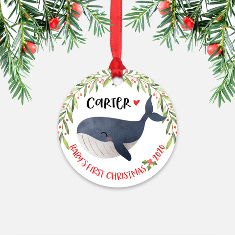 Whale Sea Ocean Animal Personalized Baby's First Christmas Ornament for Boy or Girl - Round Aluminum - Red ribbon
