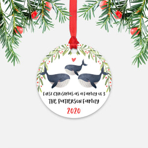 Whale Animal First Christmas as a Family of 3 Personalized Ornament for New Baby Girl Boy - Round Aluminum - Red ribbon