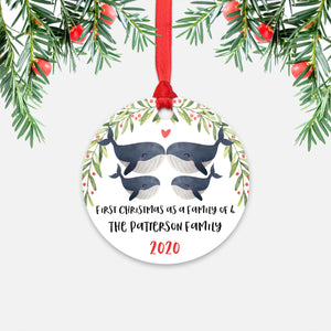 Whale Animal First Christmas as a Family of 4 Personalized Ornament for New Baby Girl Boy - Round Aluminum - Red ribbon