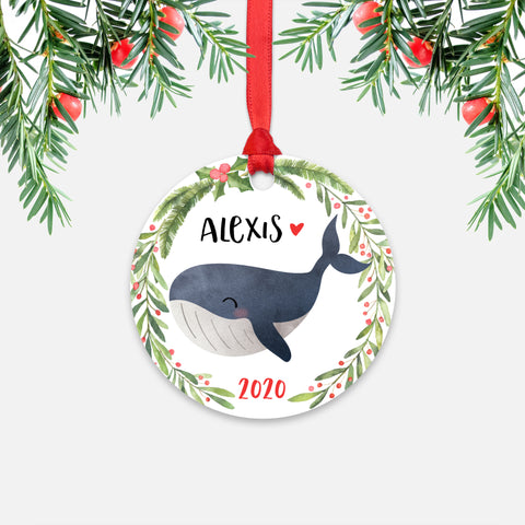 Whale Sea Ocean Animal Personalized Kids Name Christmas Ornament for Boy or Girl - Round Aluminum - Red ribbon