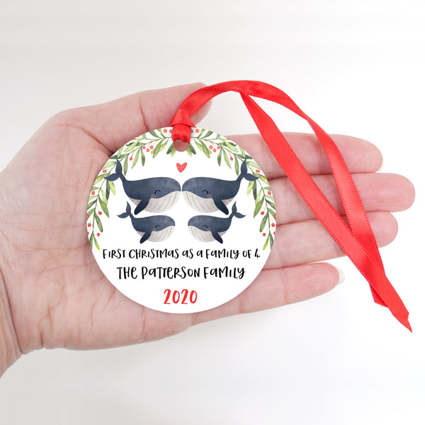 Whale Animal First Christmas as a Family of 4 Personalized Ornament for New Baby Girl Boy - Round Aluminum - In hand