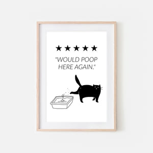 Would Poop Here Again Sign - Black Cat Wall Art - Funny Bathroom Restroom Decor - Printable Downloadable Print