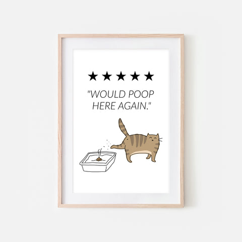 Would Poop Here Again Sign - Brown Tabby Cat Wall Art - Funny Bathroom Restroom Decor - Printable Downloadable Print