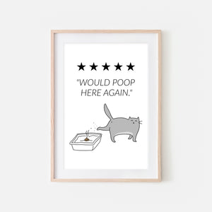 Would Poop Here Again Sign - Gray Cat Wall Art - Funny Bathroom Restroom Decor - Printable Downloadable Print