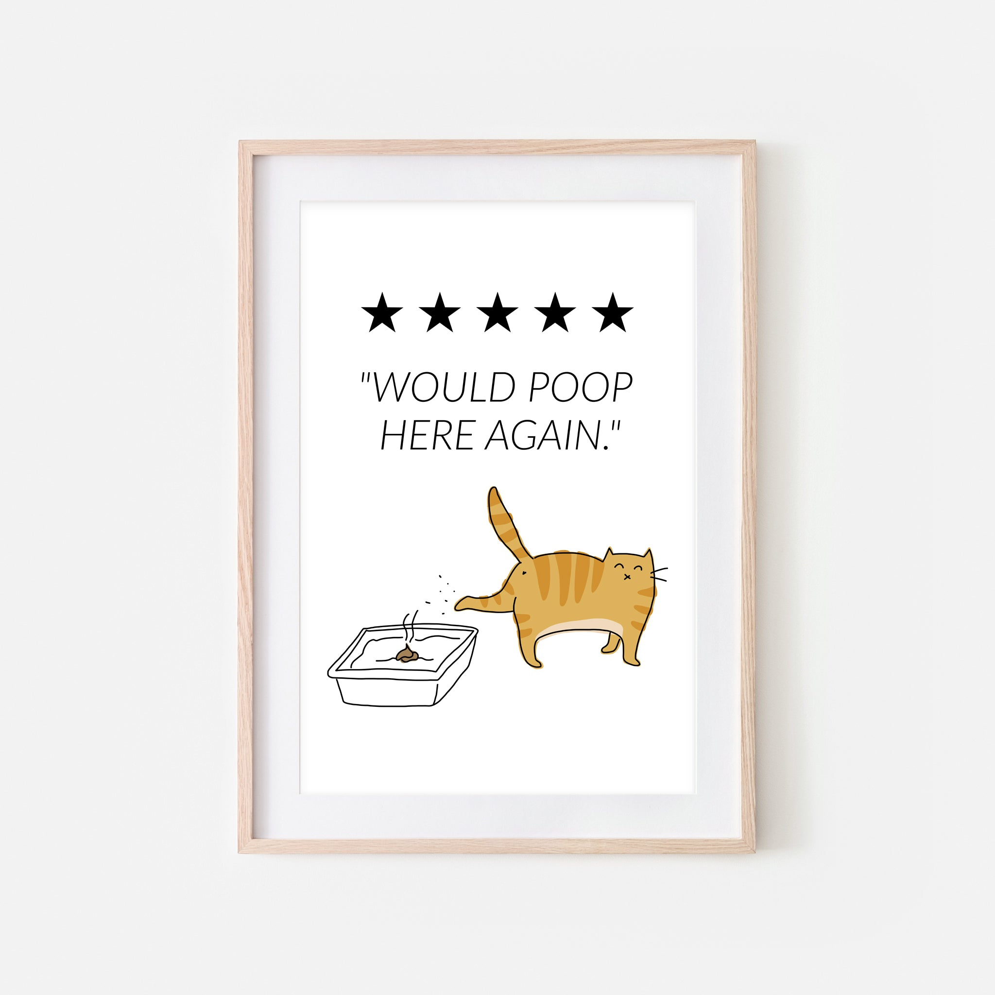 Would Poop Here Again Sign - Orange Tabby Cat Wall Art - Funny Bathroom Restroom Decor - Printable Downloadable Print