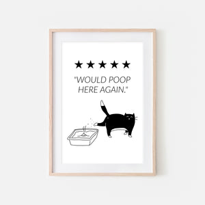 Would Poop Here Again Sign - Black and White Tuxedo Cat Wall Art - Funny Bathroom Restroom Decor - Printable Downloadable Print