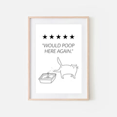Would Poop Here Again - White Cat - Printable Wall Art