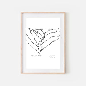 Yellowstone National Park Wyoming Montana Idaho WY MT ID USA Wall Art Print - Abstract Minimalist Landscape Contour One Line Drawing - Black and White Home Decor Mountain Outdoors Hiking Decor - Large Small Shipped Paper Print or Poster - OR - Downloadable Art Print DIY Digital Printable Instant Download - By Happy Cat Prints