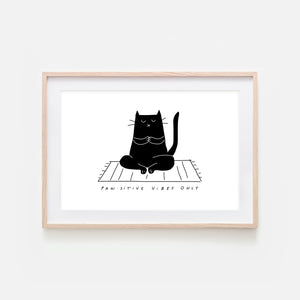 Pawsitive Vibes Only - Yoga Wall Art - Black Cat Line Drawing - Fitness Exercise Room Decor - Print, Poster or Printable Download