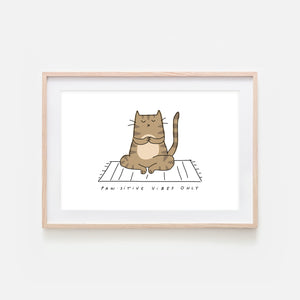 Pawsitive Vibes Only - Yoga Wall Art - Brown Tabby Cat Line Drawing - Fitness Exercise Room Decor - Print, Poster or Printable Download