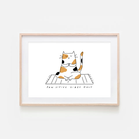Pawsitive Vibes Only - Yoga Wall Art - Calico Cat Line Drawing - Fitness Exercise Room Decor - Print, Poster or Printable Download