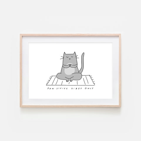 Pawsitive Vibes Only - Yoga Wall Art - Gray Cat Line Drawing - Fitness Exercise Room Decor - Print, Poster or Printable Download