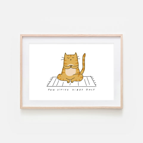 Pawsitive Vibes Only - Yoga Wall Art - Orange Tabby Cat Line Drawing - Fitness Exercise Room Decor - Print, Poster or Printable Download