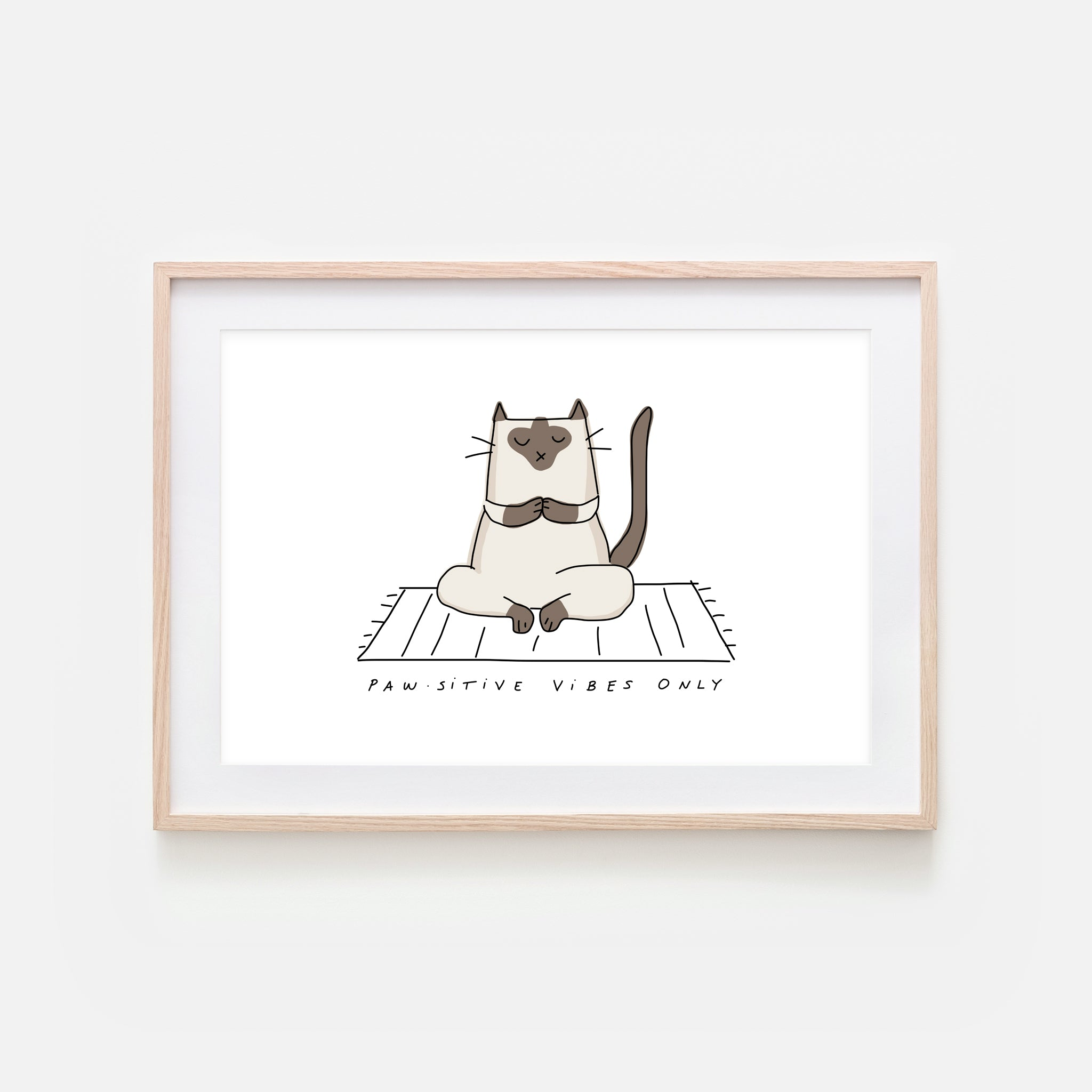 Pawsitive Vibes Only - Yoga Wall Art - Siamese Cat Line Drawing - Fitness Exercise Room Decor - Print, Poster or Printable Download