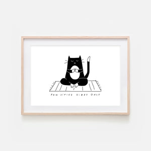 Pawsitive Vibes Only - Yoga Wall Art - Tuxedo Cat Line Drawing - Fitness Exercise Room Decor - Print, Poster or Printable Download