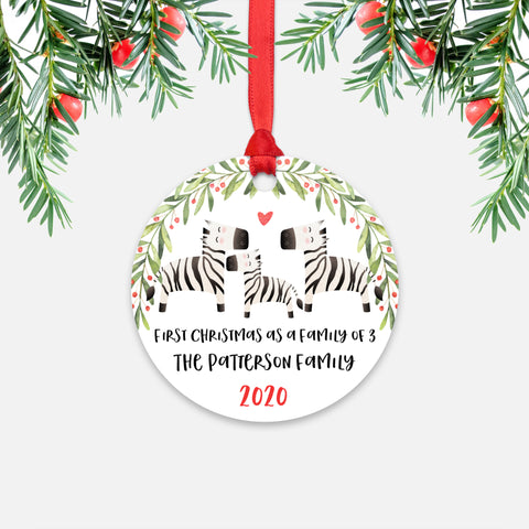 Zebra Animal First Christmas as a Family of 3 Personalized Ornament for New Baby Girl Boy - Round Aluminum - Red ribbon