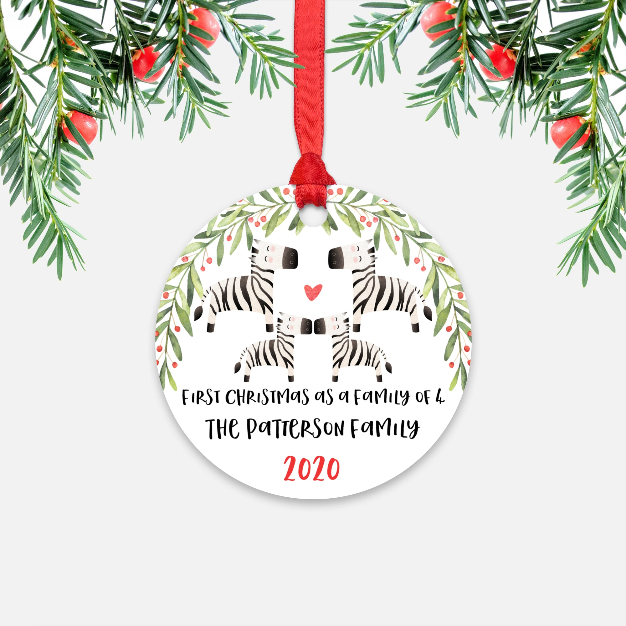 Zebra Animal First Christmas as a Family of 4 Personalized Ornament for New Baby Girl Boy - Round Aluminum - Red ribbon