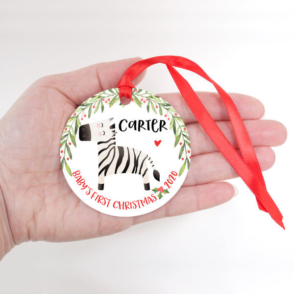 Zebra Safari Animal Personalized Baby's First Christmas Ornament for Boy or Girl - Round Aluminum - In hand