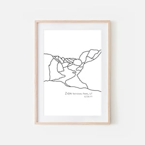 Zion National Park Utah UT USA Wall Art Print - Abstract Minimalist Landscape Contour One Line Drawing - Black and White Home Decor Mountain Outdoors Hiking Decor - Large Small Shipped Paper Print or Poster - OR - Downloadable Art Print DIY Digital Printable Instant Download - By Happy Cat Prints