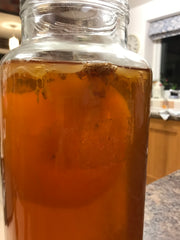 yeast attached to a SCOBY inside a kombucha jar