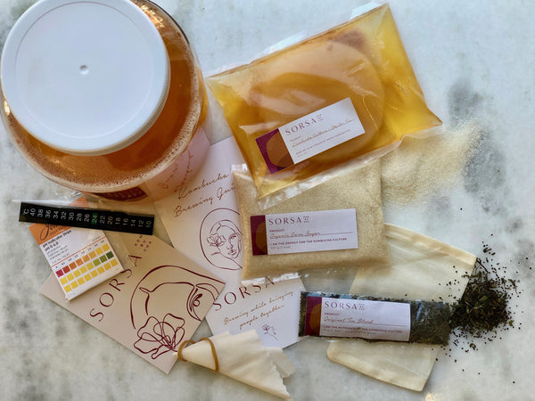 Sorsa Kombucha kit with SCOBY, Tea, Sugar, pH test Strips, pipette, LCD temperature strip. and brewing instructions