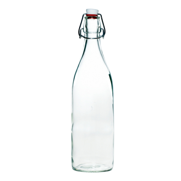 Clear glass swing top bottle for storing kombucha