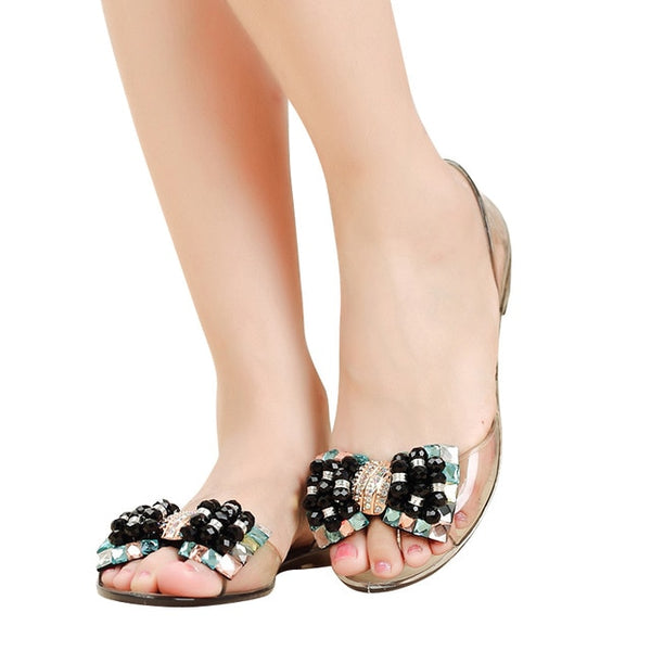 c8487f38c HEE GRAND Women Sandals Summer Style Bling Bowtie Peep Toe Jelly Shoes  Woman Crystal Flats Ladies
