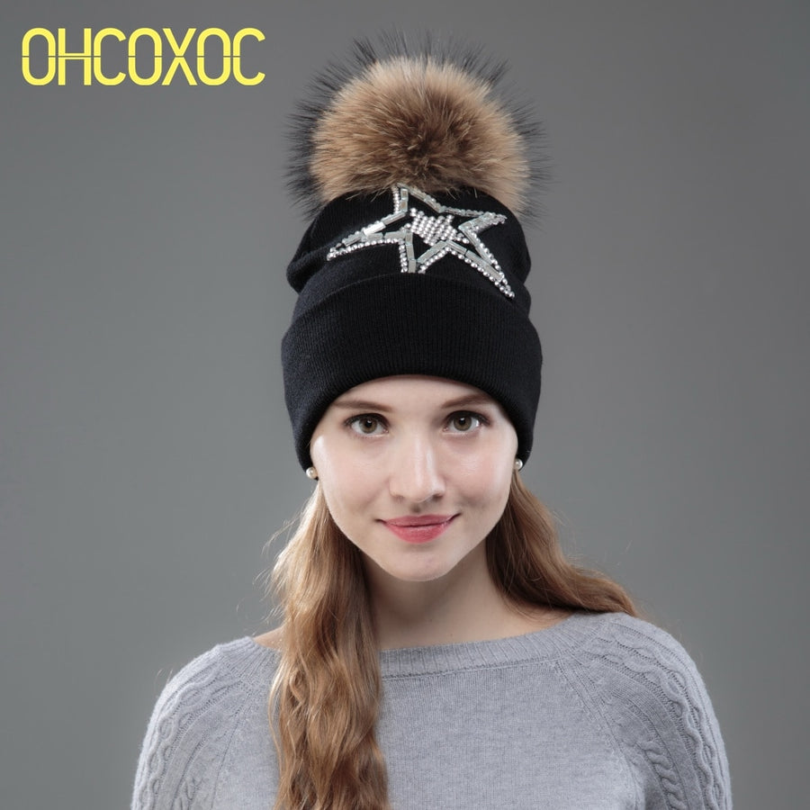 54988696 OHCOXOC New Women Beanies Real Mink Fur Pom Poms Ball Cap Keep Warm Beanies  Skullies Big