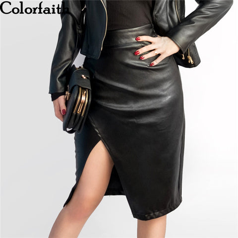 New 2017 Women Midi Skirt PU Leather Black High Waist Asymmetrical Sexy Slit Pencil Skirt Bodycon Elegant Femininas SK8673