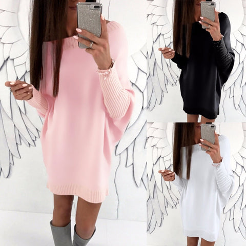 Batwing sleeve pullover long hoodies flocking loose streetwear pure colors round neck women Autumn winter girl flock tops female