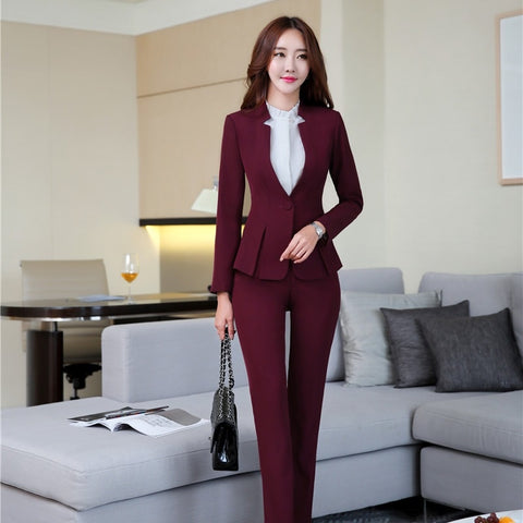 Fashion Wine Slim Formal Professional Uniform Styles Blazers Jackets And Pants Women Business Pants Suits Female Blazer Sets