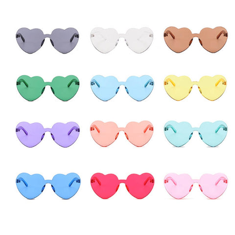 Love Heart Shape Sunglasses Women Rimless Frame Tint Clear Lens Colorful Sun Glasses Red Pink Yellow Shades Travel Accessories