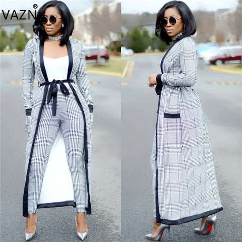VAZN New Fashion Brand 2018 Casual Rompers Full Sleeve Long Jumpsuit 3 Piece Women Rompers AM257