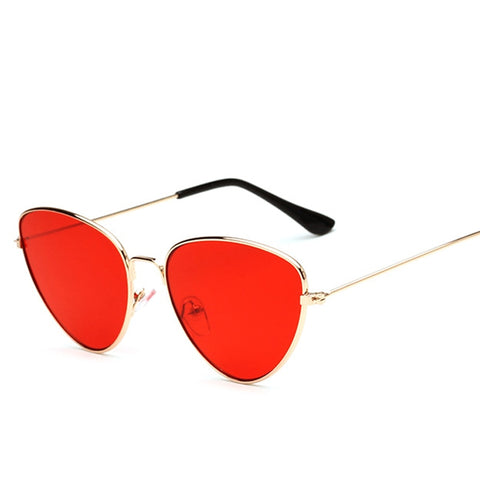 Cat Eye Women Sunglasses Tinted Color Lens Vintage Shaped Sun Glasses Women Eyewear 70s Luxe Red Female Sunglasses 604