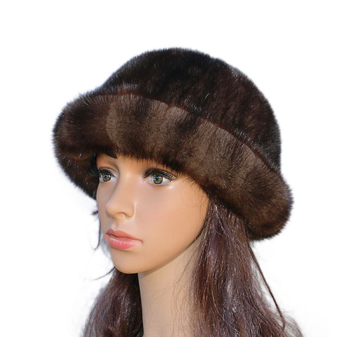 The new fur hat hot mink hat fashion Topper warm autumn and winter women short brimmed hat