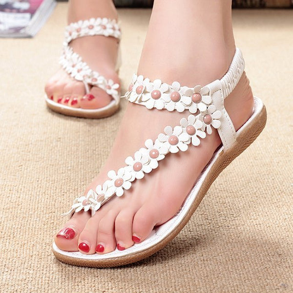 Bohemian Flower Flip Flops Women Sandals 2018 Summer Flat Shoes Woman Solid Casual Ladies Sandals Fashion Women Beach Sandals