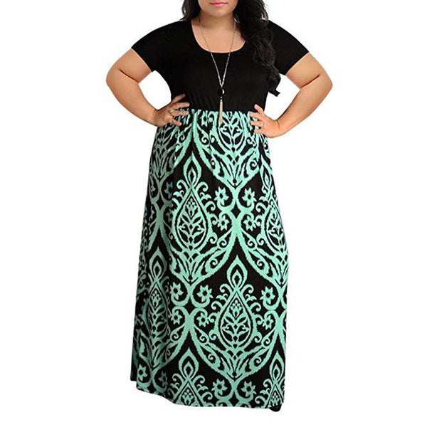 Bohemian style Women's dress Fashion elegant Lady Chevron Print Summer Short Sleeve Plus Size Casual Long Maxi Dresses vestidos