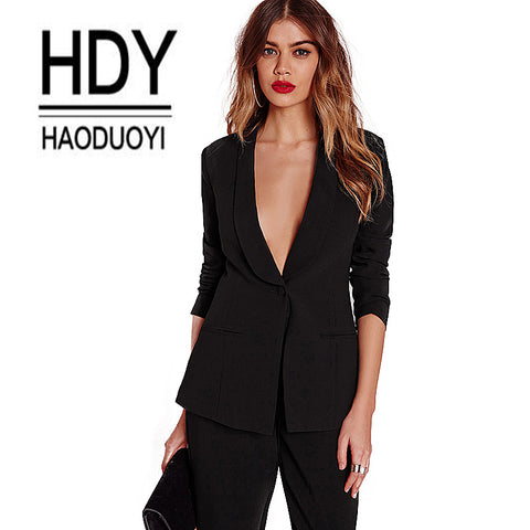Haoduoyi Black Office pants Suit set  Female Casual Slim Elegant Women's Suits Coat V Neck Sexy Chic Set Suit Blazer or pants