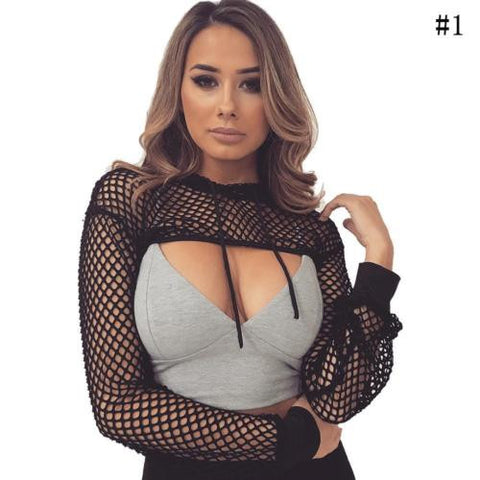 Meshnet Cropped Top Hollow Blouse Sexy Clubwear