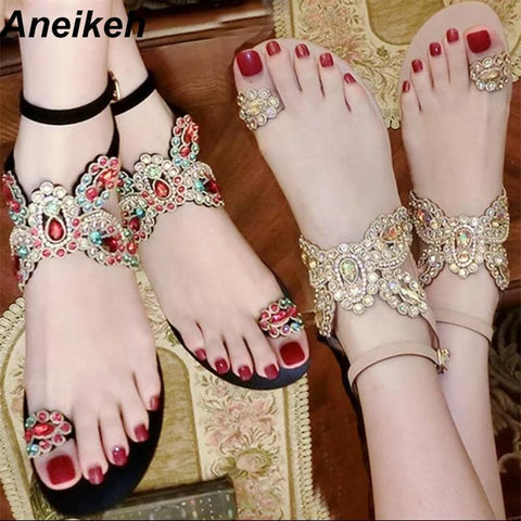 Aneikeh Summer Bling Bling Colorful Rhinestone Butterfly Woman Sandals Crystal Flats Flip Flops Female Single Shoes Party Beach