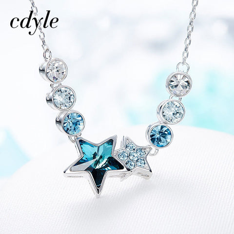 Cdyle Crystals from Swarovski Women Necklace & Pendant Fashion Jewelry Blue Star Shaped Twelve Constellations Bijoux Lady Gift