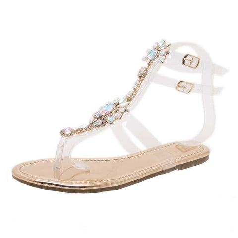 Woman Sandals Rhinestones Chains T-strap Comfortable Flat Crystal Sandals