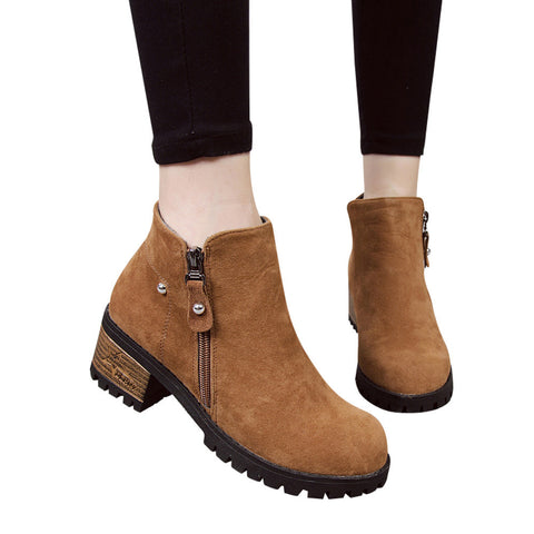 Women Boots Rivets Shoes Martain Boots Suede Ankle Boots High Heeled Zipper Boot