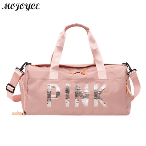 Lady Black Travel Bag Pink Color Sequins Shoulder Bags Women Handbag Women Weekend Portable Nylon Tote Waterproof Handbags 2018