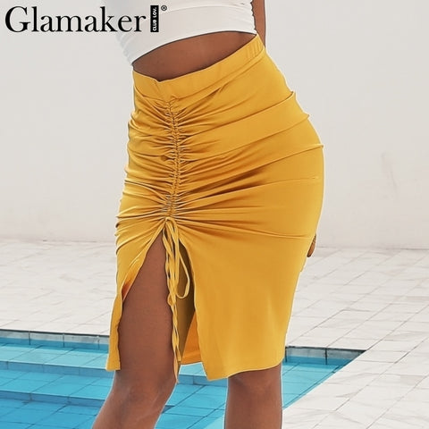 Glamaker Satin ginger khaki women skirt Sexy split party club midi skirt Shirr high waist split streetwear autumn bodycon skirt