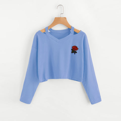 Fashion Womens Long Sleeve Sweatshirt Rose Print Causal Tops Blouse