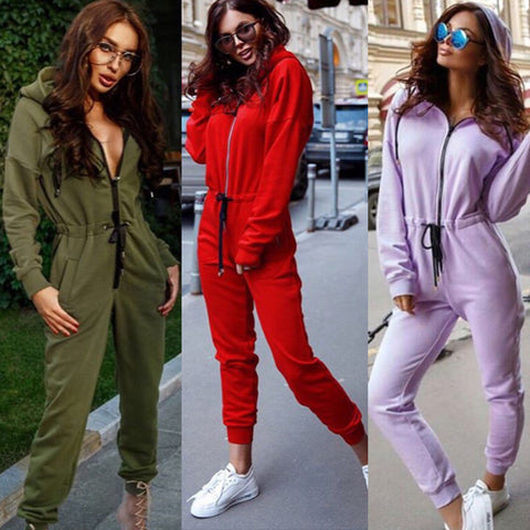 MEiHuIDa 2018 New Style Fashion Women Casual Hoodie Long Sleeve Solid Zipper Jumpsiut Romper Long Sleeve With Hat
