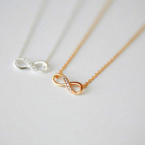 New Tiny Infinity Crystal Pendant Necklaces for Women Choker Lucky Number Eight Geometric Silver Long Chain Necklace