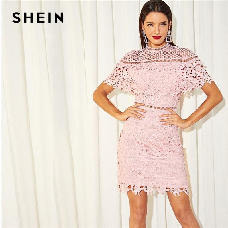 SHEIN Going Out Stand Collar Mock Neck Guipure Lace Cut Out Appliques Long  Sleeve Dress Autumn 6455cef51a2c