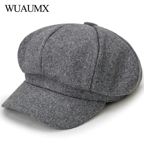 Wuaumx Fashion Autumn Winter Octagonal Hats For Women Solid Newsboy Caps Female Detective Hat Artist Painter Caps Visors chapeau